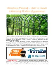 Aluminum Fencing – Ideal to Create A Stunning Modern Appearance.pdf