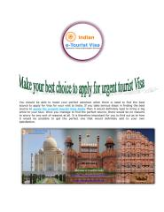 Make your best choice to apply for urgent tourist Visa India.pdf