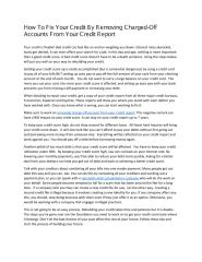 How to fix bad credit by removing charged off accounts from your credit report.pdf