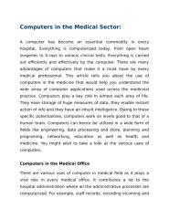 Computers in the Medical Sector.docx
