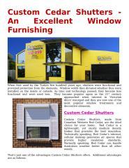 Custom Cedar Shutters-An Excellent Window Furnishing.docx